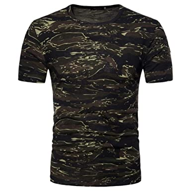 c2f5b16b2948 Lelili Men Summer Fashion Tee Shirt Camouflage Print Short Sleeve Round  Neck Slim Fit Basic T