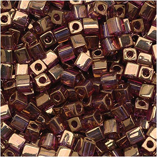 (Miyuki 4mm Glass Cube Beads Cranberry Gold Luster Color #2441 10)