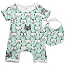 Baby Girls Boys Cat Fox Print Dribble Bib Romper Bodysuit Playsuit Outfits 0-24M (0-6 Months, Blue Fox)
