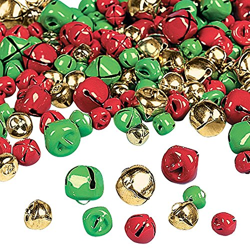 Red Jingle Bell (Set of 280 Multi Colored Black Duck Brand Christmas Jingle Bells 1/2