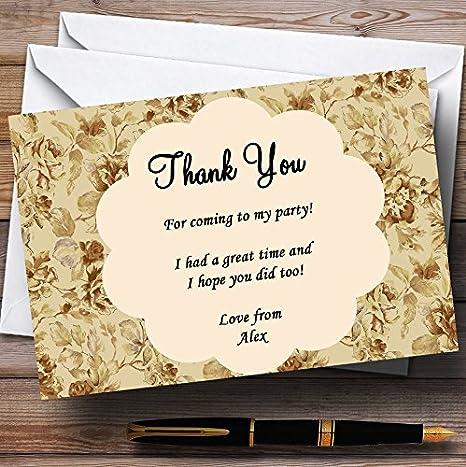 Vintage Garden Tea Party Thank You Cards Personalized Party Thank You Cards