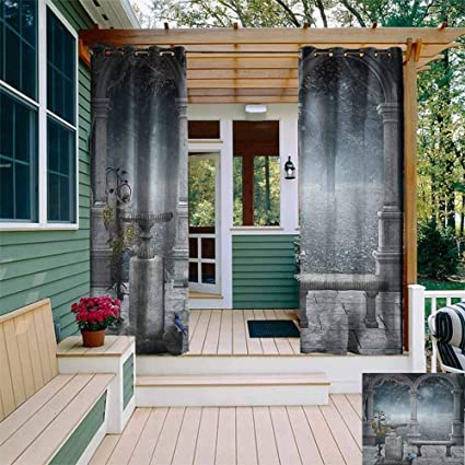 DONEECKL - Cortina impermeable para exteriores, diseño gótico de ...