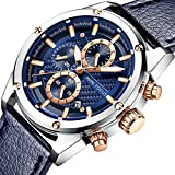 Men's Business Watch Waterproof Analogue Casual Quartz Wrist Watches for Man Chronograph Blue Leather Clock (Blue)