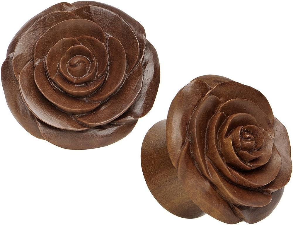Body Candy 1 Organic Sabo Wood Rose Hand Carved Ear Gauge Plug Set