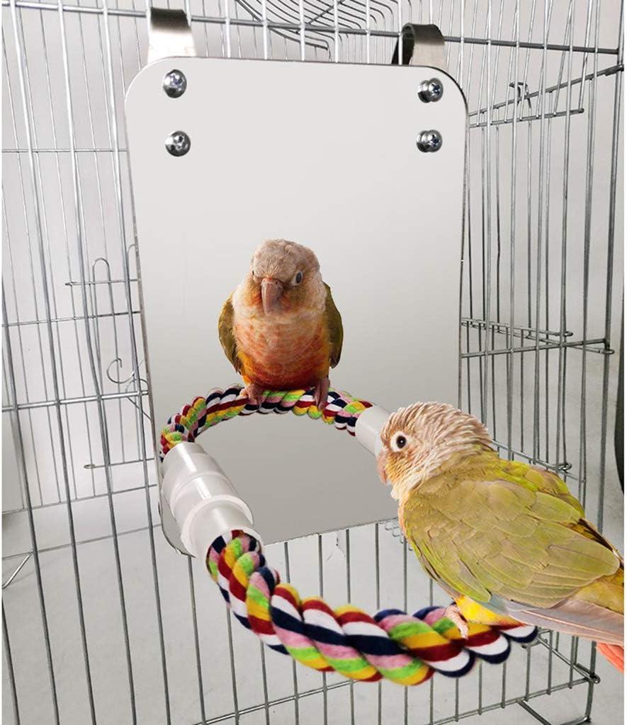 Baoblaze Set di 2 Specchietti per Uccelli E Trespoli per Piccoli Pappagallini Ara Conure Piccioncini