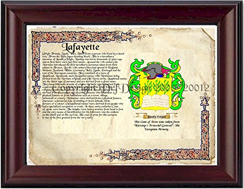 Lafayette Coat of Arms/ Family Crest on Fine Paper and Family -