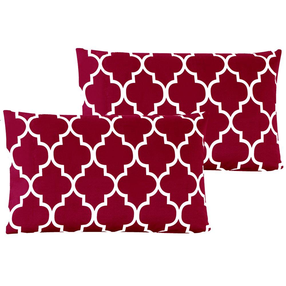 Mellanni Luxury Pillowcase Set Set of 2 King Size, Quatrefoil Burgundy - Red