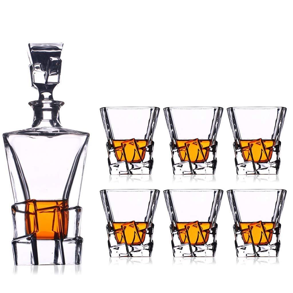 ヨーロッパスタイルのウイスキーワインデカンタクリスタルグラスワインエアレーター酸素セパレータ用家族パーティー7ピースセット B07QS1VQ1M
