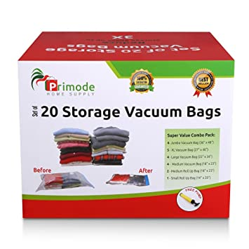 primode 20 count space saver vacuum storage bags saves space and protects clothing easy