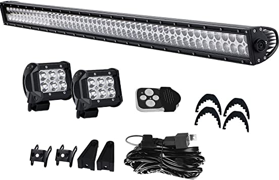 For Jeep Wrangler JK  20 INCH LED Light Bar+Wiring Switch On Front Bumper Roof