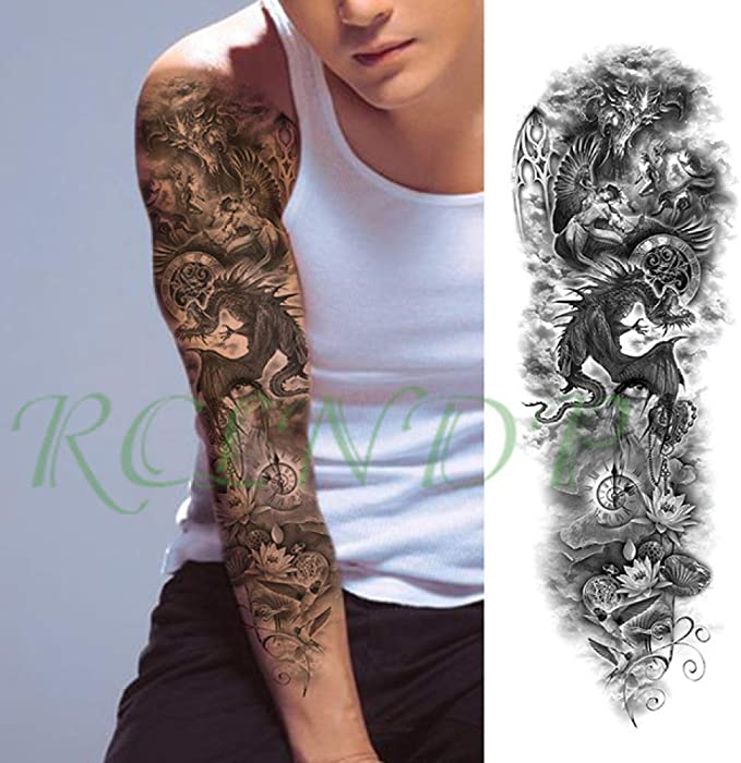 Tatuaje a prueba de agua pegatina rosa espada flor brazo completo ...