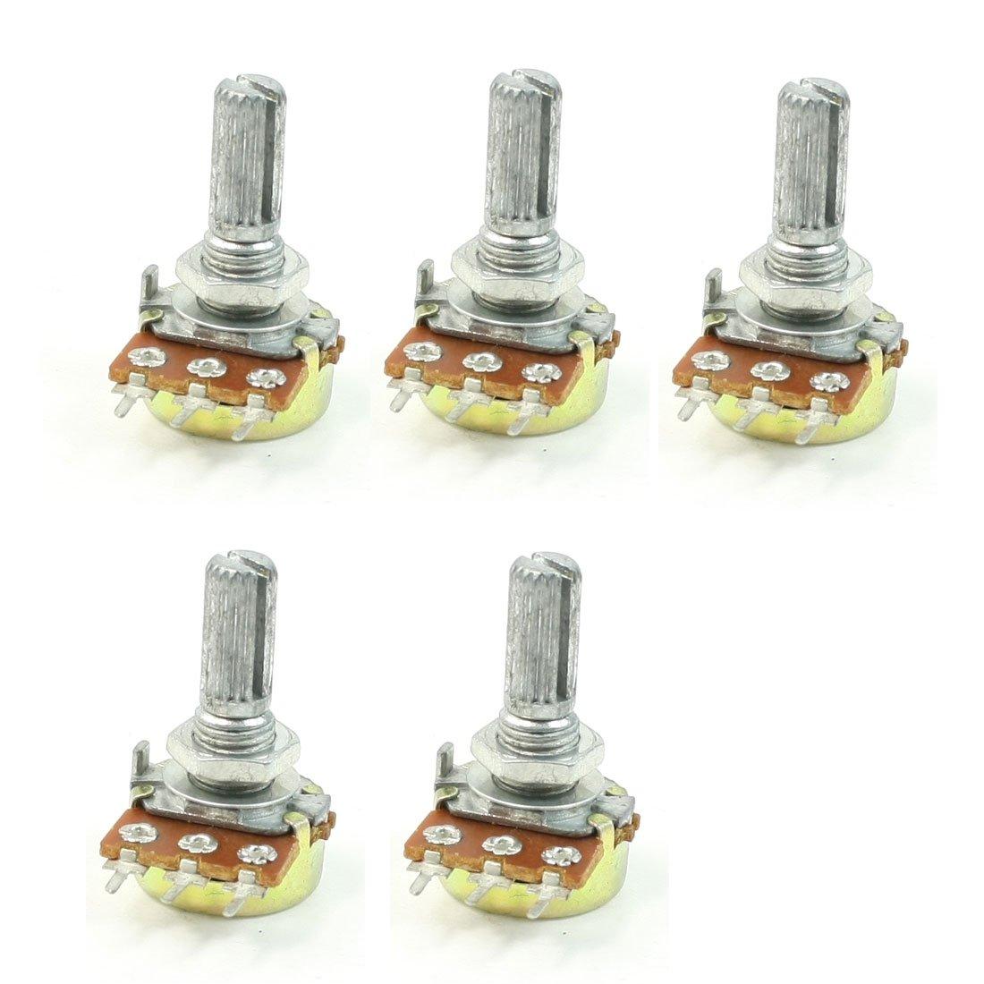 B50K 50K Ohm Adjustment Single Linear Rotary Taper Potentiometer 5 Pcs Sourcingmap a13061400ux0446