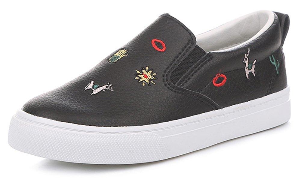 SFNLD nStar Kids' Super Cute Patterned Round Toe Low Top Slip on Walking Loafers Shoes Black 11.5 M US Little Kid