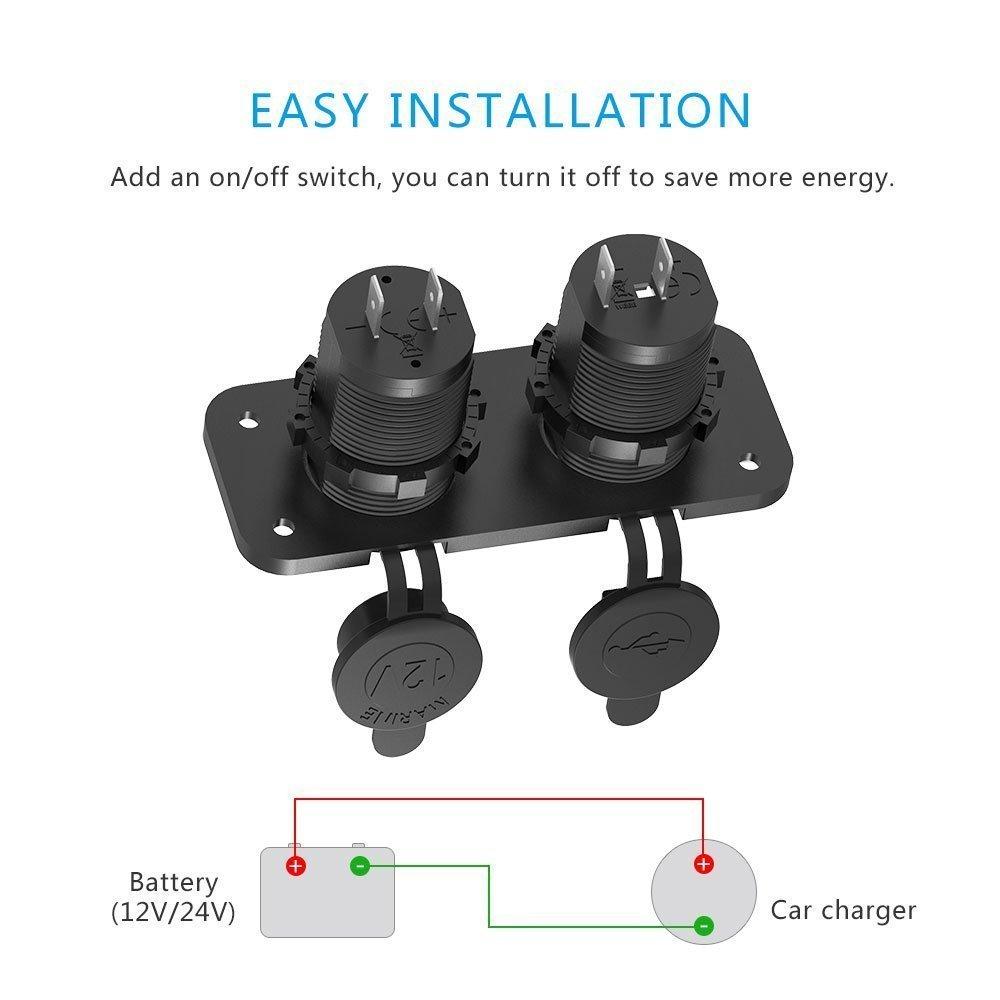 Adaptador de Coche con 2 USB Puertos, CHGeek 150W 12V/24 Cargador Impremeable con LED Luz Azúl para Motocicletas, Coches, Caravanas, Camiones, ...