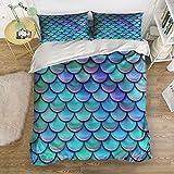 T&H Home Mermaid Fish scales Bedding Duvet Cover Set,4-Piece Suit Queen Size,100% Cotton Bed Sheets Set,Soft,Comfortable,Breathable