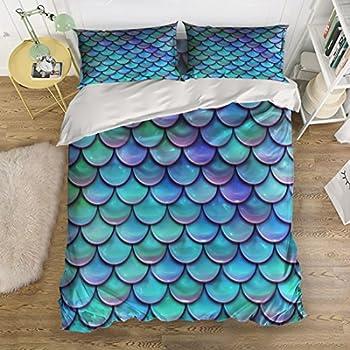 Amazon.com: T&H Home Mermaid Fish scales Bedding Duvet ...