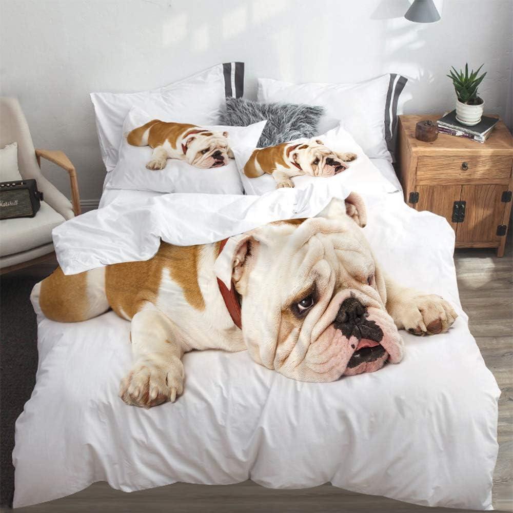 LASINSU Funda De Edredón,Bulldog Inglés Bulldog Triste y Cansado Acostado Fotografía de Animales de Raza Pura Europea,3 Pcs Ropa de Cama Funda Nórdica Sábana Bajera (140 * 200CM)