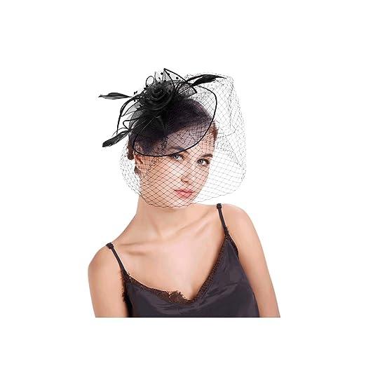 e78b0abd53a8a KLgeri Womens Fascinators Hat Cocktail Party Dot Face Veil Mesh Wedding  Headwear (Free