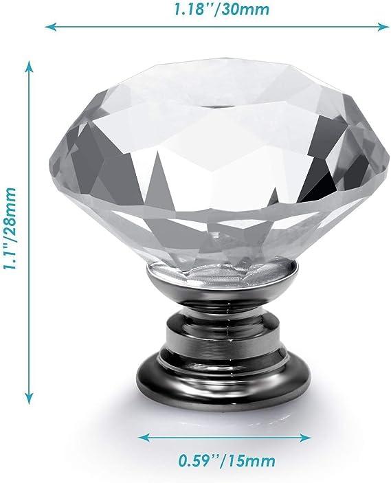 VIPMOON 6pcs 30mm diamante claro cortar la puerta perillas con tornillo cristal de cristal gabinete caj/ón manejar