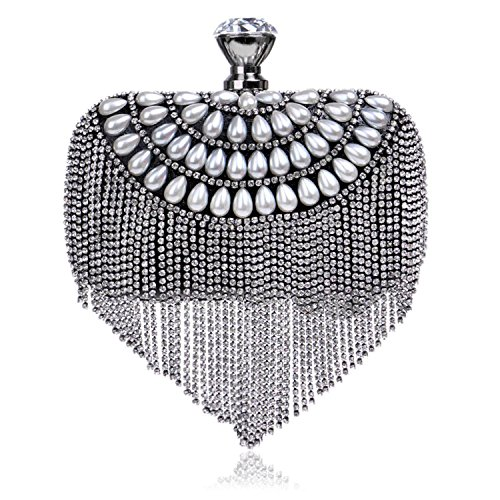 Diamonds Black Beading Women Wedding Clutch Evening Lady Party Handbags Purse Chain Tassel Small Bag Shoulder TOOGOO Gold qTIgaw