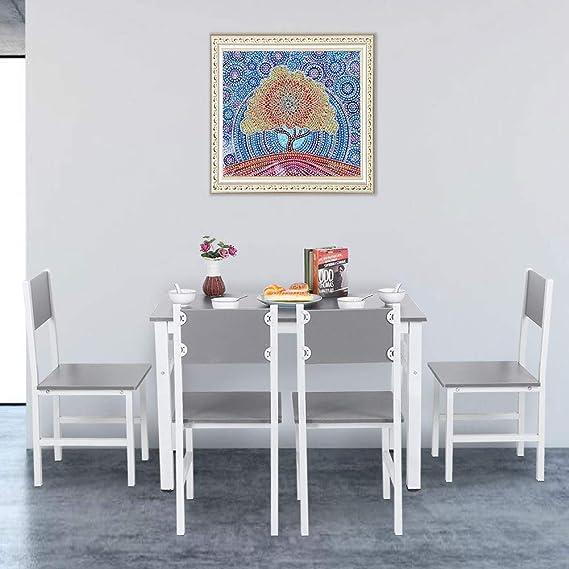 Cikonielf Juegos de Muebles de Comedor, Mesa y 4 Sillas de Tablero de partículas, Superficie Lisa, Simple y Elegante: Amazon.es: Hogar