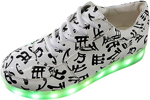 Longra 2019 New Women Men Unisex Sneakers Musical Notes Lace-Up Casual Shoes Luminous Shoes Light Shoes