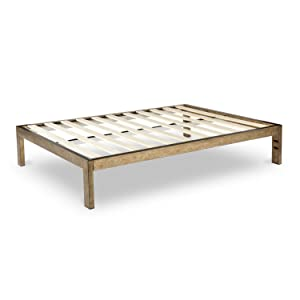 The Frame Gold Brushed Steel Frame Platform Metal Bed Frame/Mattress Foundation, No Boxspring Needed, Wooden Slat Support, King, 14' H