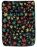 Sunshine Joy Marijuana Leaf Coral Fleece Throw Blanket Weed Jumble