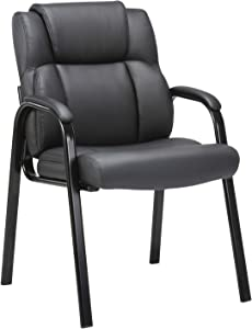 CLATINA Leather Guest Chair with Padded Arm Rest for Reception Meeting Conference and Waiting Room Side Office Home Black