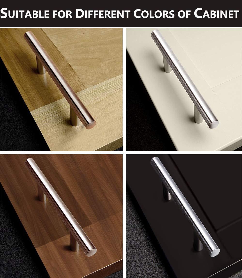 Probrico Kitchen cabinet T bar maniglie pomelli per porta in acciaio INOX 9 dimensioni 50 mm, 64 mm, 76 mm, 96 mm, 128 mm, 160 mm, 192 mm, 224 mm, 256 mm