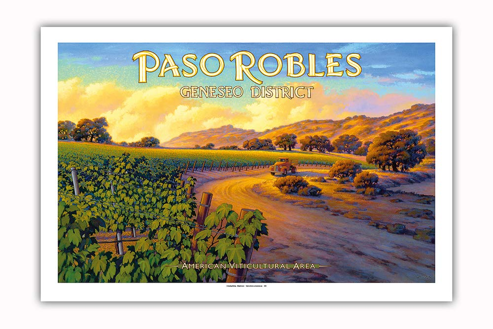 Pacifica Island Art - Paso Robles - Geneseo District - Central Coast AVA Vineyards - California Wine Country Art by Kerne Erickson - Premium 290gsm Giclée Art Print 24in x 36in by Pacifica Island Art (Image #1)