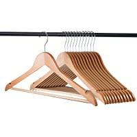 Home-it (20 Pack) Natural Wood Solid Wood Clothes Hangers, Coat Hanger Wooden Hangers