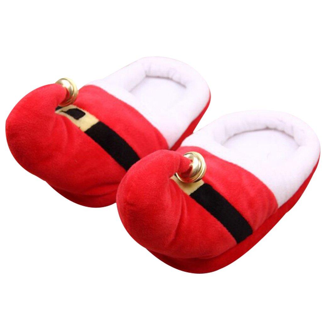 Christmas Slippers, Fascigirl House Slippers Santa ELF Xmas Warm Slippers with Bells