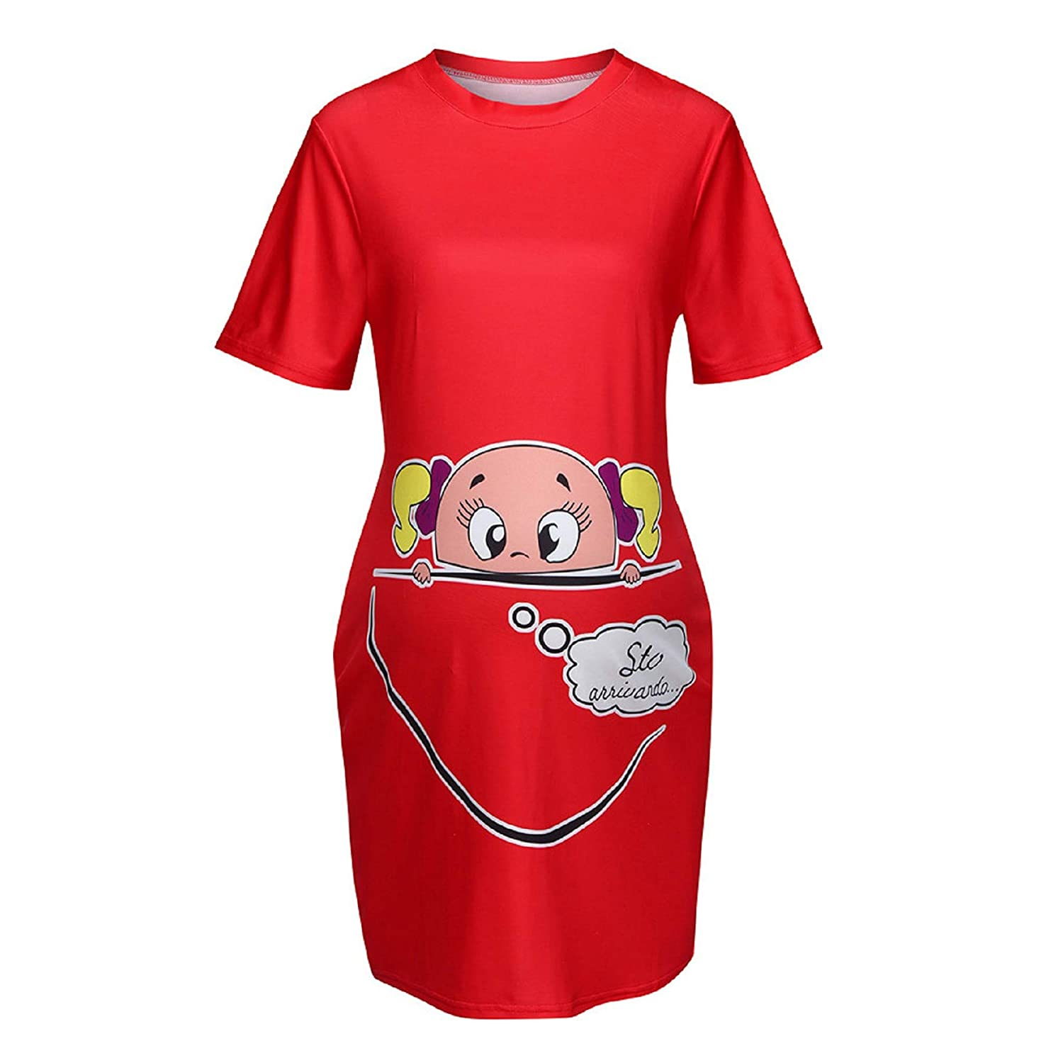 Funny Graphic Print Casual Short Sleeve Round Neck Basic Pregnancy Tops Womens Maternity T-Shirt
