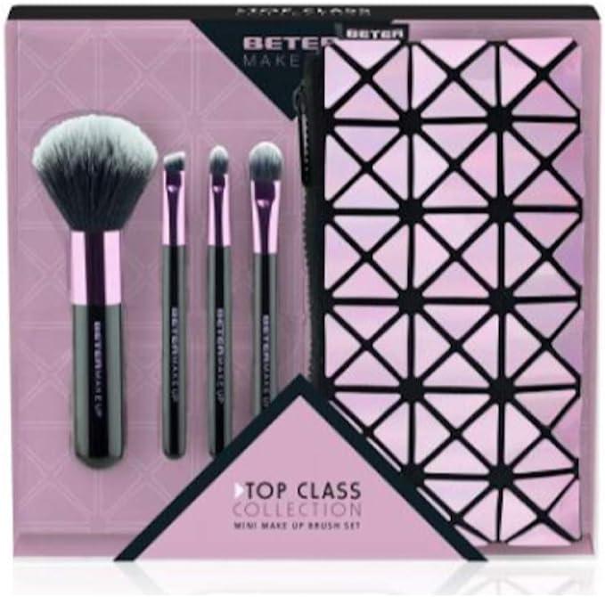 Beter 118762, Estuche Maquillaje 1 Brocha y 3 Pinceles, Rosa: Amazon.es: Belleza