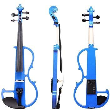 FDJGFDKLDRT Violin Violín eléctrico 4/4 Violín eléctrico Silencioso Madera maciza Piezas de ébano: preamplificador de alto nivel con estuche KIT azul NUEVO: ...