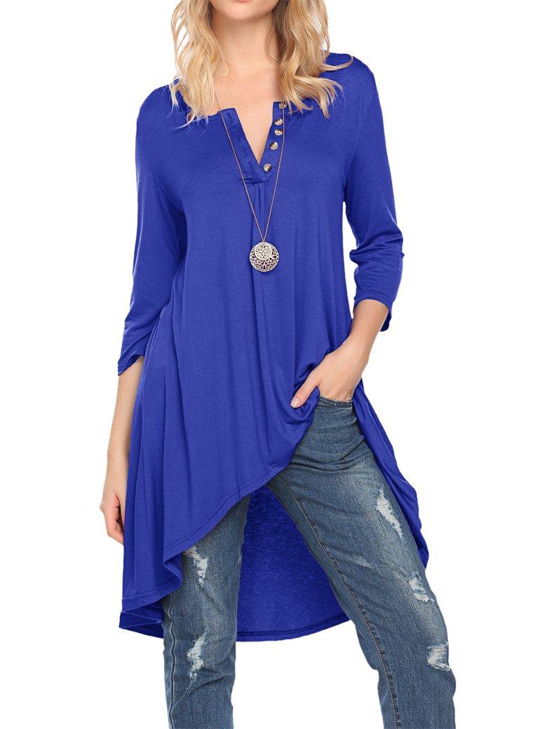 Naggoo Women's Half Sleeve High Low Loose Fit Casual Tunic Tops Tee Shirt Dress (L, Royal Blue)