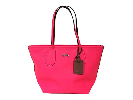 1e46752e0777 ... neon pink quibids e596d 184f5 get coach taxi zip top crossgrain leather tote  handbag 34406 a69a0 ddd58 switzerland coach signature ...