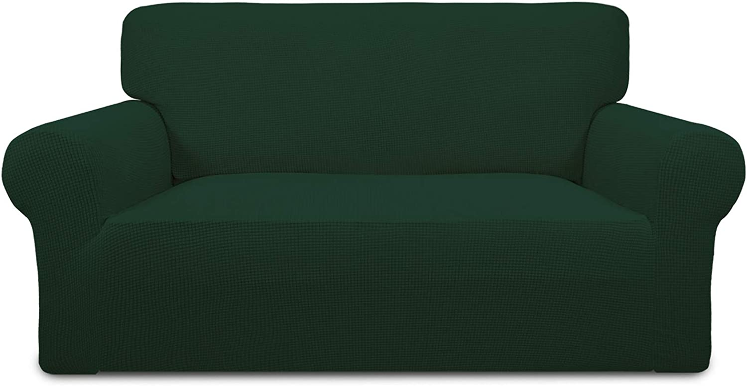 Easy-Going Stretch Sofa Slipcover 1-Piece Sofa Cover Furniture Protector Couch Soft with Elastic Bottom Anti-Slip Foam Kids,Polyester Spandex Jacquard Fabric Small Checks(Loveseat,Dark Green)