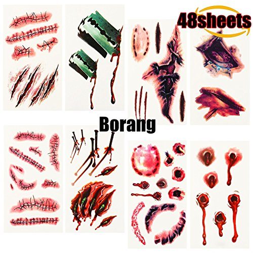 Borang 48 Sheets Halloween Bloody Scar Temporary Tattoos Bleeding Wound Temporary Tattoo Waterproof Temporary Tattoo Stickers for Cosplay Costume or Halloween Party or Cos Play Party