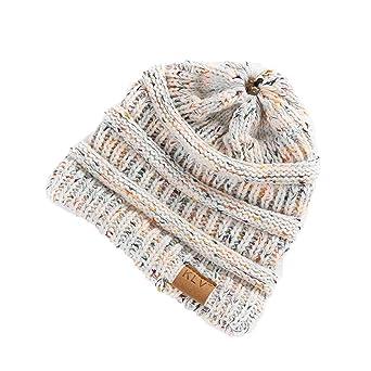 b775354b6c3 Moonuy Bonnet Hiver Femme en Tricot avec Trou pour Queue de Cheval Beanie  Hat Multicolore Slouch