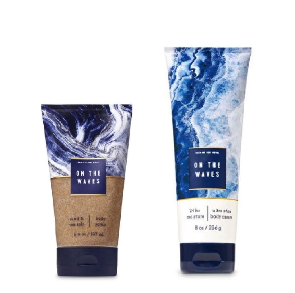 Bath and Body Works - On the Waves - Sand & Sea Salt Body Scrub - 6.6 Oz. & Ultra Shea Body Cream - 8 Oz.
