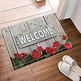 Weathered Welcome Sign Hanging on Wooden Fence Flower Border RosesBath Rugs Non-Slip Floor Entryways Outdoor Indoor Front Door Mat 15.7x23.6in Bath Mat Bathroom Rugs