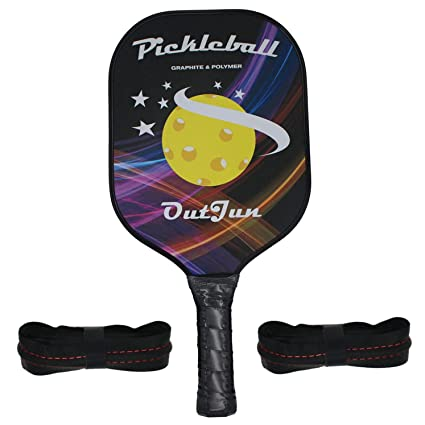 OutJun Graphite Pickleball Paddle Single with Overgrip Replacements