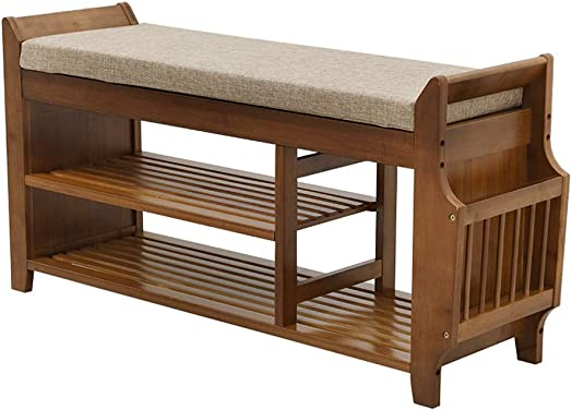 Shoe bench Bamboo Shoe Rack with Storage Drawer and Storage Basket, Multifunctional Entryway with Storage, Heavy Duty Modern Storage Stool 2 Tier Size 100cm