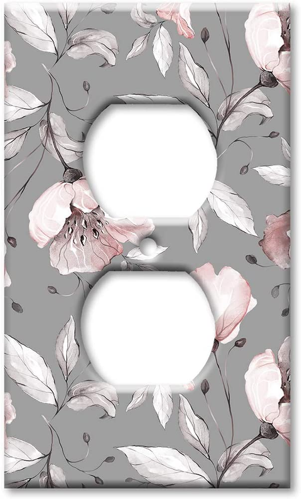 Art Plates Duplex Outlet Cover Wall Plate - Gray and Pink Flower Toss