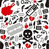 Laeacco Halloween Theme Backdrop 10x10ft Vinyl Photography Background Medicine Skull Razor Murder Gun Grenade Knife Alcohal Death Rope Syringe Trick or Treat Party Horror Night Gathering Baby Shoot