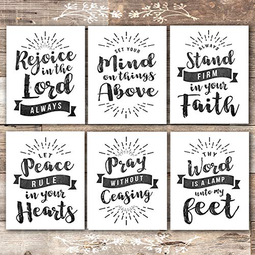 (Scripture Wall Art Christian Prints (Set of 6) - Unframed - 8x10s | Chalkboard Bible Verses)