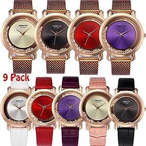 Yunanwa 9 Pack Women Watches Quicksand Rhinestone 5pcs Leather Brand + 4pcs Mesh Brand Wrist Watches Wholesale