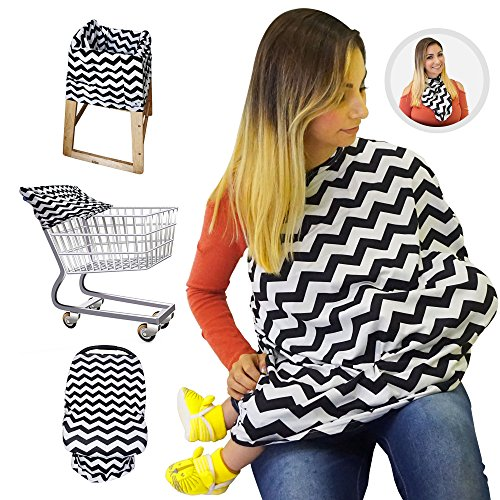 Nursing Breastfeeding Cover/Scarf + Baby Car Seat Cover/Canopy + Shopping Cart/Stroller Cover + High Chair Cover for Infant Girls and Boys. Best 4 in 1 Multi Use Stretchy Covers (Black Chevron)
